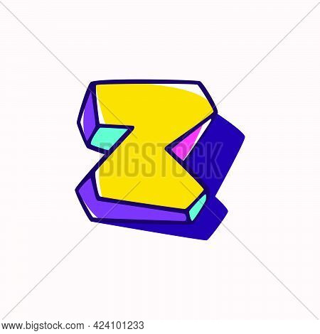 Letter Z Logo In Cubic Children Style Based On Impossible Isometric Shapes. Perfect For Kids Labels,