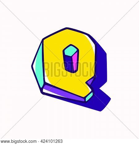 Letter Q Logo In Cubic Children Style Based On Impossible Isometric Shapes. Perfect For Kids Labels,