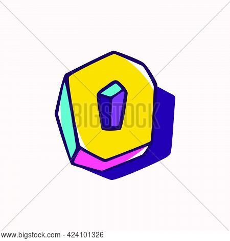 Number Zero Logo In Cubic Children Style Based On Impossible Isometric Shapes. Perfect For Kids Labe