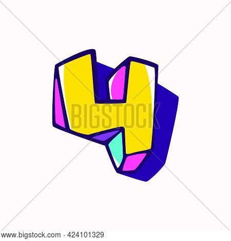 Number Four Logo In Cubic Children Style Based On Impossible Isometric Shapes. Perfect For Kids Labe