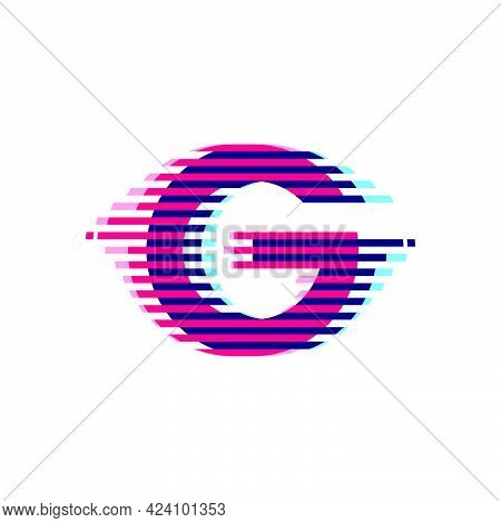 G Letter Logo With Vibrant Line Glitch Effect. Vector Font Perfect To Use In Your Nightlife Labels,