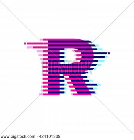 R Letter Logo With Vibrant Line Glitch Effect. Vector Font Perfect To Use In Your Nightlife Labels,