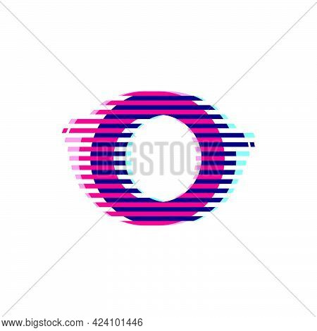 O Letter Logo With Vibrant Line Glitch Effect. Vector Font Perfect To Use In Your Nightlife Labels,