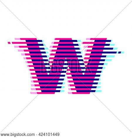 W Letter Logo With Vibrant Line Glitch Effect. Vector Font Perfect To Use In Your Nightlife Labels,