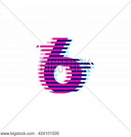 Number Six Logo With Vibrant Line Glitch Effect. Vector Font Perfect To Use In Your Nightlife Labels