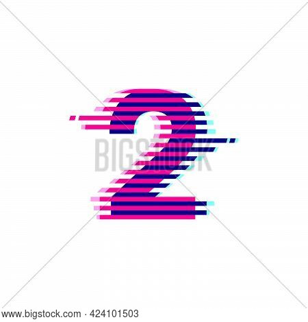 Number Two Logo With Vibrant Line Glitch Effect. Vector Font Perfect To Use In Your Nightlife Labels