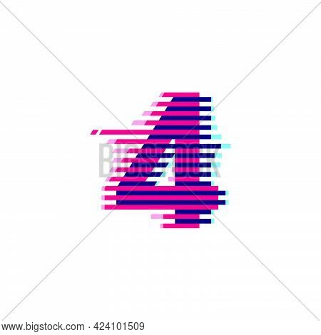 Number Four Logo With Vibrant Line Glitch Effect. Vector Font Perfect To Use In Your Nightlife Label