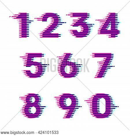Numbers Set With Vibrant Line Glitch Effect. Vector Font Perfect To Use In Your Nightlife Labels, Ex