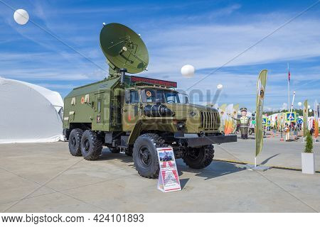 Moscow Region, Russia - August 25, 2020: Satellite Station R-441lm For Organizing Anti-jamming Satel