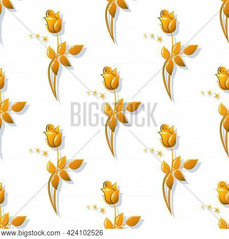 Golden Rose. Vector Vintage Background. Seamless Pattern With Image Of A Gold Rose Flowers On A Whit