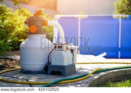 Pool Water Filtration System, Outdoor Sand Pump. Maintaining The Purity Of Water, Cleaning From Dirt