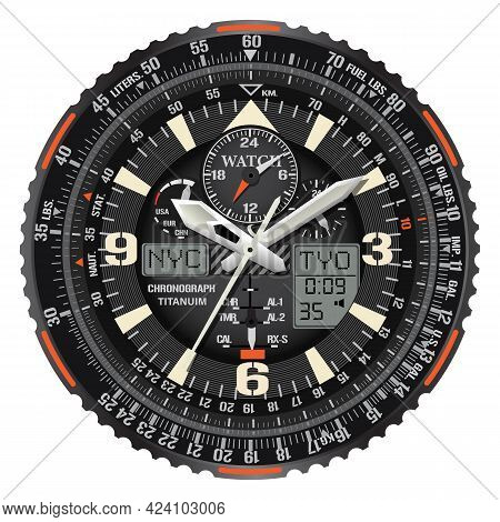 Realistic Vector Of Clock Watch Chronograph Face Black Metallic White Orange Text Number Digital For