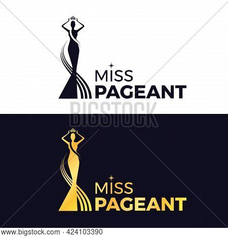Miss Pageant Logo - Black And Gold The Beauty Queen Pageant Holding Above A Head The Crown Vector De