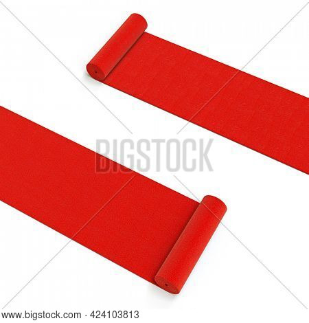 unrolling red carpets on white background. 3d render.