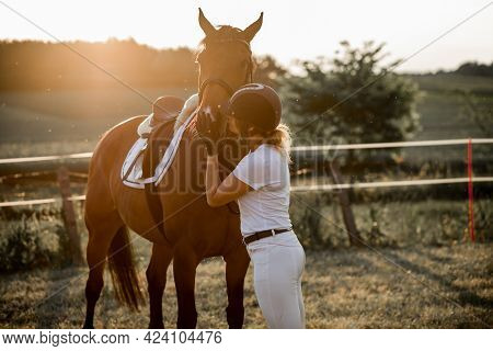 Young Girl In Rays Of Setting Sun Kisses Her Horse.the Concept Of Love For Nature. Portrait.