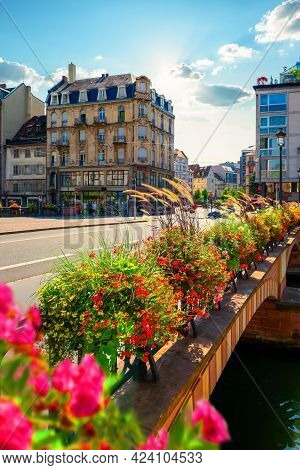 View On Bridge Of Strasbourg In Bright Sunny Day
