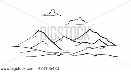 Vector Hand Drawn Mountains Sketch Landscape With Peaks And Clouds. Line Design