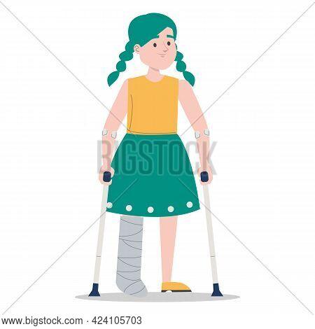 Girl On Crutches With A Broken Leg