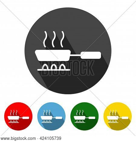 Pan Icon Vector Illustration Design Element With Four Color Variations. Pan Icon With Long Shadow. P