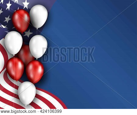 Vector Template Banner With Usa Flag And Balloons. Patriotic Holiday Template. Independence Day. Lab
