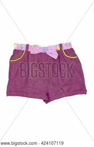 Summer Shorts Isolated. Closeup Of A Stylish Fashionable Violet Pink Short Pant With Ribbon Bow For