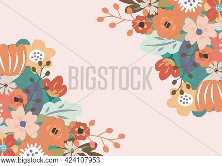 Composition of floral frame design with central copy space and pink background. invitation or greetings card design template concept with copy space, digitally generated image.