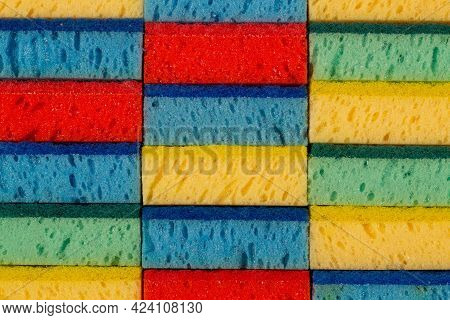 Dishwashing Sponge, Sideways Up. Multi-purpose Double-faced Colored Sponge Scouring Pads For Dishes.