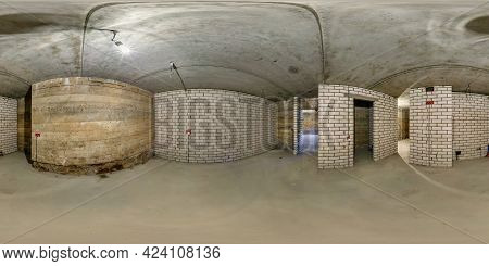 Empty Room In Basement Without Repair. Full Spherical Hdri Panorama 360 Degrees In Interior Room In