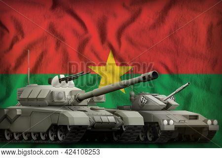 Tanks On The Burkina Faso Flag Background. Burkina Faso Tank Forces Concept. 3d Illustration
