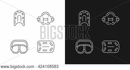 Swimming Pool Supplies Linear Icons Set For Dark And Light Mode. Kickboard. Aqua Jogger. Swimming Go
