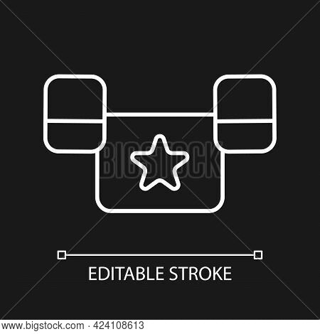 Puddle Jumper White Linear Icon For Dark Theme. Keeping Child Safe In Swimming Pool And Sea. Thin Li
