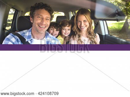 Composition of smiling parents and two children sitting in car on sunny day. family, travel, holidays and free time concept digitally generated image.