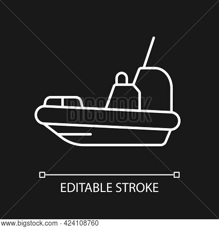 Rescue Boat White Linear Icon For Dark Theme. Lifeboat For Victims Rescuing. Survival Craft. Thin Li