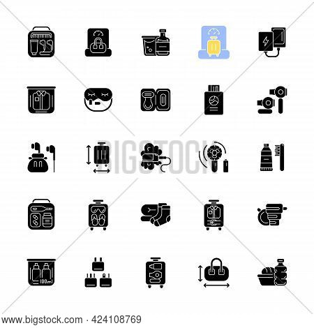 Travel Size Objects Black Glyph Icons Set On White Space. Portable Stuff For Flight Passenger. Essen