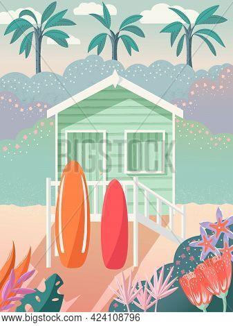 Bungalow On A Beach With Surfboards On The Deck. Palm Trees In The Background And Floral Decoration.