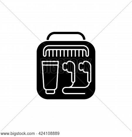 Airline Amenities Black Glyph Icon. Handbag With Portable Stuff For Trip Comfort. Essential Things F