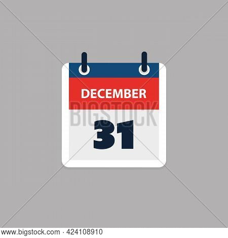 Calendar Page Design For Day 31st Of December, Last Day Of The Year - Vector Illustration