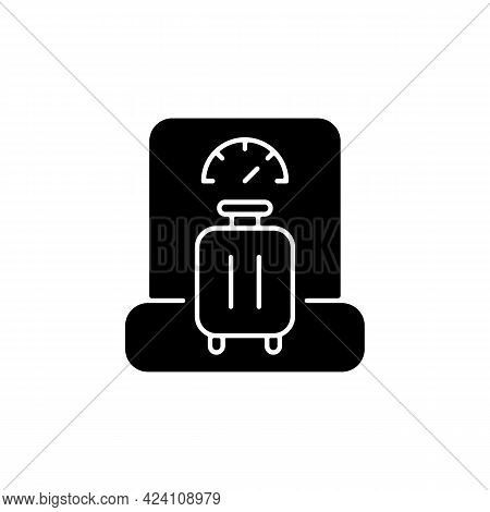 Baggage Weight Black Glyph Icon. Luggage Weighing In Airport. Traveller Suitcase Check. Essential Fo