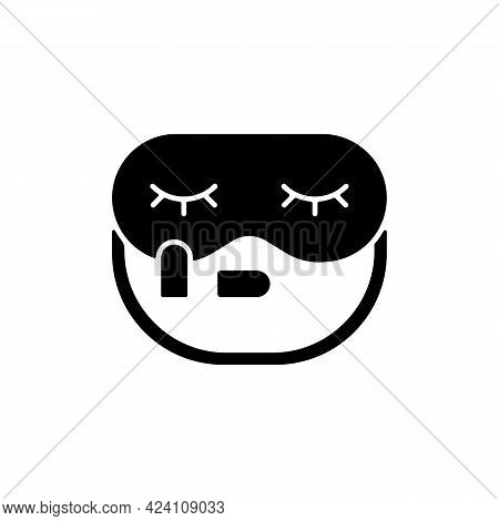 Sleeping Mask And Earplugs Black Glyph Icon. Portable Amenities For Bedtime In Airplane. Essential F
