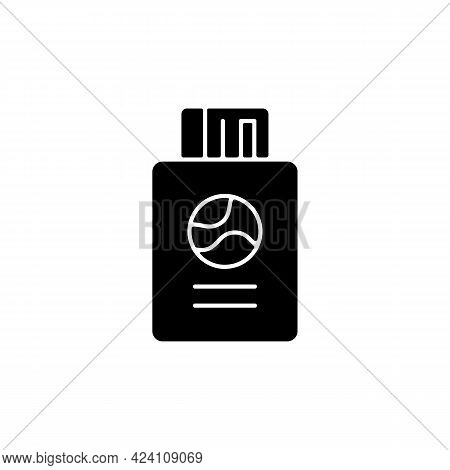 Passport With Tickets Black Glyph Icon. Citizen Document With Pass. Traveller Amenity. Essentials Fo