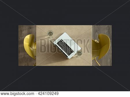 Composition of overhead table with laptop, two drinks and two chairs, on black background. global business, communication concept digitally generated image.