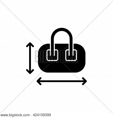 Hand Luggage Size Black Glyph Icon. Measuring Baggage For Flight Passenger. Portable Amenities. Thin