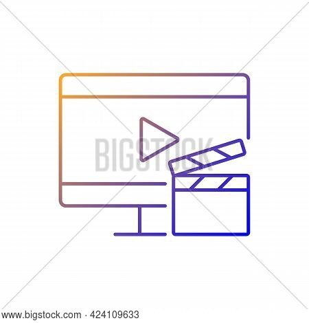 Watching Tv Gradient Linear Vector Icon. Television Show Broadcast. Movie On Screen. Home Appliance.
