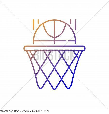 Basketball Gradient Linear Vector Icon. Team Sport For Exercise. Scoring Goal With Shooting Ball In