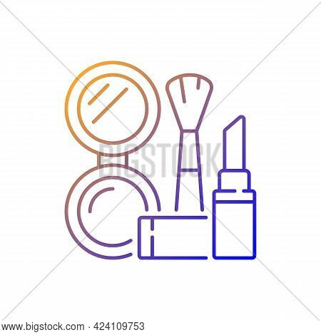 Makeup Gradient Linear Vector Icon. Cosmetic Products. Female Skincare. Lipstick And Powder Set. Bru