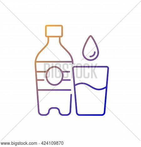 Water Gradient Linear Vector Icon. Hydration For Fitness. Mineral Aqua. Water Bottle To Prevent Dehy