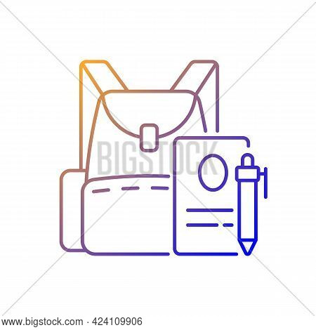 Backpack Gradient Linear Vector Icon. Preparing For School Classes. Schoolbag With Notebook For Stud