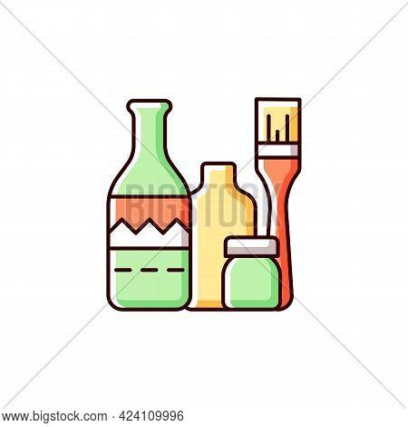 Bottle Painting Rgb Color Icon. Home Decor. Repurposed Wine Bottles. Flower Homemade Vases. Glass-pa