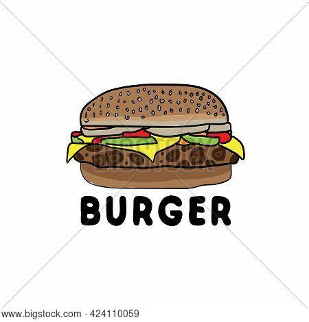 Burger Food Illustration Design Logo Vector. Burger Logo Restaurant