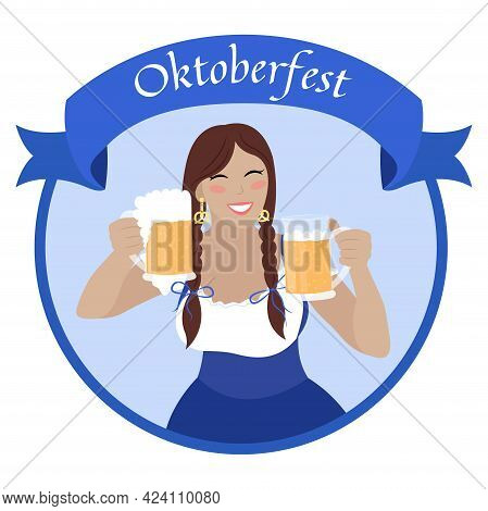 Oktoberfest Girl With Beer Mugs. Beautiful Smiling Woman In Bavarian Dress Dirndl. Vector Flat Illus